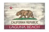 Laguna Beach, California - California State Flag - Barnwood Painting Art by  Lantern Press