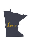 Minnesota - Home State - Gray on White Premium Giclee-trykk av  Lantern Press