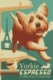 Yorkshire Terrier - Retro Yorkie Espresso Ad Prints by  Lantern Press