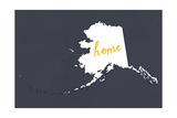 Alaska - Home State- White on Gray Premium Giclee-trykk av  Lantern Press