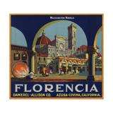 Florencia Brand - Azusa, California - Citrus Crate Label Taide tekijänä  Lantern Press