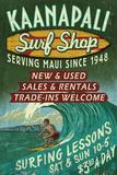 Kaanapali, Hawaii - Surf Shop Vintage Sign アート : ランターン・プレス