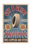 Retro Tire Ad - Vintage Sign Kunst von  Lantern Press