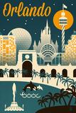Orlando, Florida - Retro Skyline Kunstdrucke von  Lantern Press