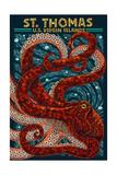 St. Thomas, U.S. Virgin Islands - Octopus Mosaic Poster von  Lantern Press