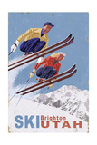 Brighton, Utah - Vintage Skiers Premium Giclee Print by  Lantern Press