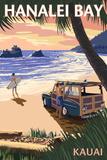 Hanalei Bay - Kauai, Hawaii - Woody on Beach Premium Giclee-trykk av  Lantern Press
