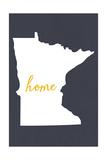 Minnesota - Home State - White on Gray Premium Giclee-trykk av  Lantern Press