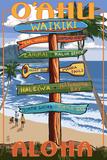 Waikiki, Oahu, Hawaii - Aloha - Sign Destinations 高品質プリント : ランターン・プレス
