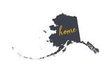 Alaska - Home State- Gray on White Premium Giclee-trykk av  Lantern Press