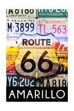 Amarillo Texas - Route 66 License Plates Prints by  Lantern Press