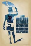 Ocean Beach, California - The Endless Summer - Surfer Cutout Scene Kunstdrucke von  Lantern Press