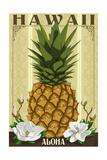 Hawaii - Aloha - Colonial Pineapple Premium Giclee-trykk av  Lantern Press