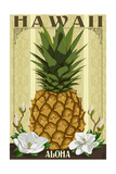 Hawaii - Aloha - Colonial Pineapple 高画質プリント : ランターン・プレス