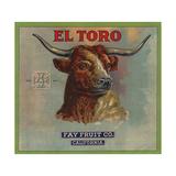 El Toro Brand - California - Citrus Crate Label Poster tekijänä  Lantern Press