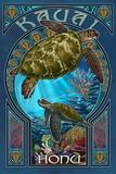 Kauai, Hawaii - Sea Turtle Art Nouveau Plakat av  Lantern Press