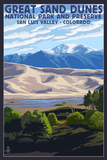 Great Sand Dunes National Park and Preserve, Colorado Kunstdrucke von  Lantern Press