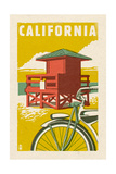 California - Lifeguard Tower Woodblock Print by  Lantern Press
