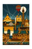 Paris, France - Retro Skyline (no text) Stampe di  Lantern Press