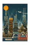 Chicago Illinois - Retro Skyline (no text) - Lantern Press Original Poster Láminas por  Lantern Press