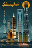 Shanghai, China - Retro Skyline Posters af  Lantern Press