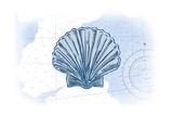 Scallop Shell - Blue - Coastal Icon Pósters por  Lantern Press