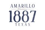 Amarillo, Texas - Established Date (Blue) Prints by  Lantern Press