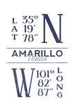 Amarillo, Texas - Latitude and Longitude (Blue) Prints by  Lantern Press