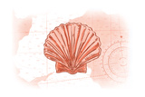 Scallop Shell - Coral - Coastal Icon Plakater af  Lantern Press