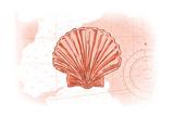 Scallop Shell - Coral - Coastal Icon Láminas por  Lantern Press