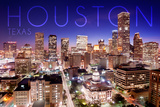 Houston, Texas - Skyline at Night Premium Giclee-trykk av  Lantern Press