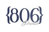 Amarillo, Texas - 806 Area Code (Blue) Print by  Lantern Press