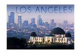 Los Angeles, California - Griffith Observatory and Skyline Premium Giclee-trykk av  Lantern Press