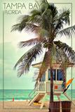 Tampa Bay, Florida - Lifeguard Shack and Palm Stampe di  Lantern Press