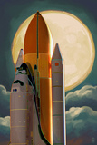 Space Shuttle and Moon Kunstdrucke von  Lantern Press