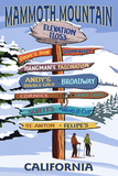 Mammoth Mountain, California - Ski Signpost Poster di  Lantern Press