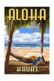 Kauai, Hawaii - Hammock Scene Premium Giclee-trykk av  Lantern Press