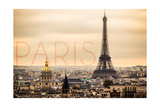 Paris, France - City Aerial View and Eiffel Tower Stampe di  Lantern Press