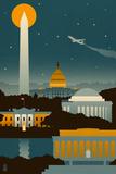 Washington, DC - Retro Skyline (no text) Posters tekijänä  Lantern Press
