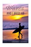 Coronado, California - the Waves are Calling - Surfer and Sunset Plakat av  Lantern Press