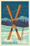 Vermont - Crossed Skis - Letterpress Art by  Lantern Press