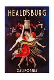 Healdsburg, California - Women Dancing with Wine Prints by  Lantern Press