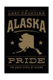 Alaska State Pride - Gold on Black Premium Giclee-trykk av  Lantern Press