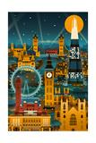 London, England - Retro Skyline (no text) Posters av  Lantern Press
