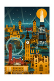 London, England - Retro Skyline (no text) Kunstdrucke von  Lantern Press