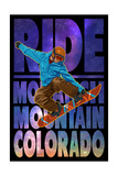 Monarch Mountain, Colorado - Milky Way Snowboarder Premium Giclee Print by  Lantern Press