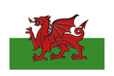 Wales Country Flag - Letterpress Posters by  Lantern Press