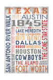 Texas - Barnwood Typography Poster von  Lantern Press