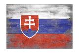 Slovakia Country Flag - Barnwood Painting Print by  Lantern Press