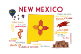 New Mexico - Typography and Icons Posters av  Lantern Press